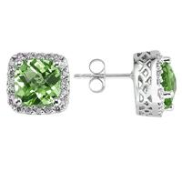 Peridot and Diamond Earrings in 14K White Gold