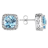 Cushion Cut Blue Topaz and Diamond Earrings 14K White Gold