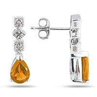 Citrine and Diamond Antique Earrings in 14K White Gold