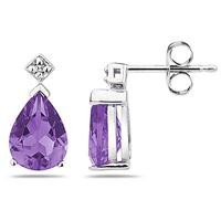 Pear Shaped Amethyst & Diamond Earrings in White Gold