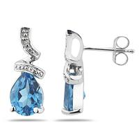 Pear Shaped Blue Topaz and Diamond Earrings in White Gold