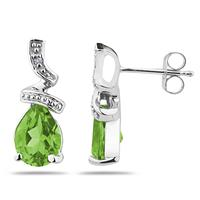 Pear Shaped Peridot  and Diamond Earrings in 10k White Gold