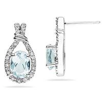 Aquamarine & Diamonds Oval Shape Earrings in 10k White Gold