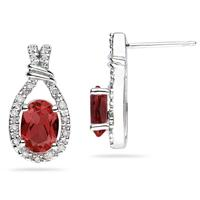 Garnet & Diamonds Oval Shape Earrings in 10k White Gold