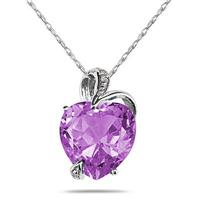 4.75CT Amethyst Heart and Diamond Pendant in .925 Sterling Silver