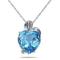 3.00 Carat Swiss Blue Topaz and Diamond Heart Pendant in .925 Sterling Silver