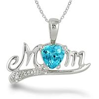 1.25 Carat Blue Topaz and Diamond MOM Pendant in .925 Sterling Silver