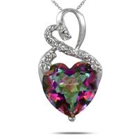3.50 Carat Genuine Mystic Topaz Heart and Diamond Pendant in .925 Sterling Silver