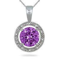 7.00 Carat Amethyst and Diamond Pendant in .925 Sterling Silver
