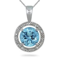 7.75 Carat Blue Topaz and Diamond Pendant in .925 Sterling Silver