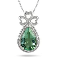 3.00 Carat All Natural Pear Shape Green Amethyst and Diamond Heart Pendant in .925 Sterling Silver