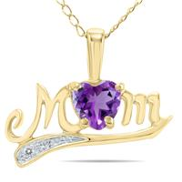 Amethyst and Diamond MOM Pendant in Yellow Gold