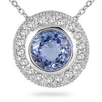 Tanzanite and Diamond Royal Pendant in 14k White Gold
