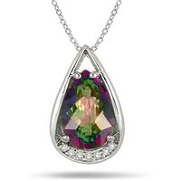 3.75 Carat Pear Shaped Rainbow Topaz and Diamond Teardrop Pendant in .925 Sterling Silver