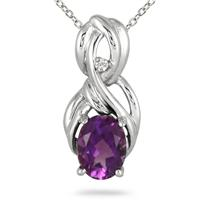 3.00 Carat Amethyst and Diamond Knot Pendant in .925 Sterling Silver