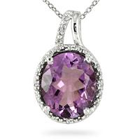 4.00 Carat Amethyst and Diamond Pendant in .925 Sterling Silver