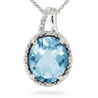4.00 Carat Blue Topaz and Diamond Pendant in .925 Sterling Silver