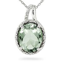 4 Carat Diamond and Green Amethyst Pendant in .925 Sterling Silver