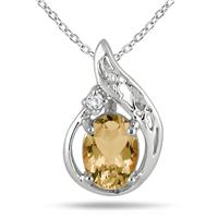 1 Carat Citrine and Diamond Pendant in .925 Sterling Silver