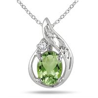 4/5 Carat Peridot and Diamond Pendant in .925 Sterling Silver