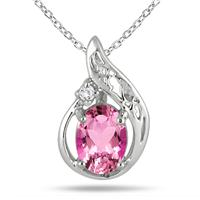 2.00 Carat Pink Topaz and Diamond Pendant in .925 Sterling Silver