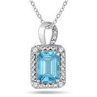 1.25 Carat Emerald Cut Blue Topaz and Diamond Pendant in .925 Sterling Silver