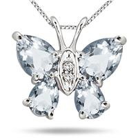 1.80 Carat Aquamarine and Diamond Butterfly Pendant in .925 Sterling Silver