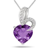 5.50 Carat Heart Shape Natural Amethyst and Diamond Pendant in .925 Sterling Silver
