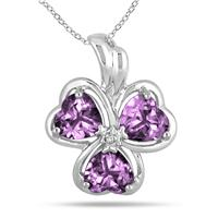 2.10 Carat Heart Shape Amethyst and Diamond Clover Pendant in .925 Sterling Silver