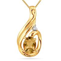 Citrine and Diamond Slide Pendant in 18K Gold Plated Sterling Silver