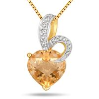 3.00 Carat Heart Shape Natural Citrine and Diamond Pendant in 18K Gold Plated Sterling Silver