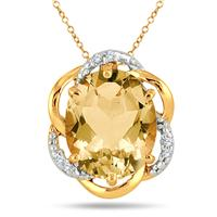 4.20 Carat Citrine and Diamond Pendant in 18K Yellow Gold Plated Sterling Silver