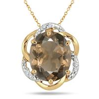 4.20 Carat Smokey Quartz and Diamond Pendant in 18K Yellow Gold Plated Sterling Silver