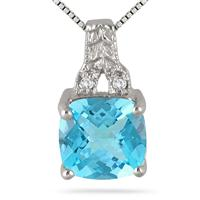 2 Carat Blue Topaz and Diamond Engraved Pendant in .925 Sterling Silver
