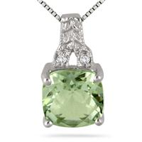 2 Carat Green Amethyst and Diamond Engraved Pendant in .925 Sterling Silver