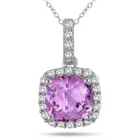 1 3/4 Carat Cushion Amethyst and Diamond Halo Pendant in 10K White Gold