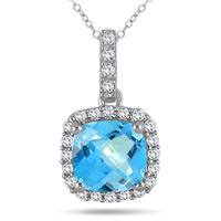 1.75 Carat Cushion Blue Topaz and Diamond Halo Pendant in 10K White Gold