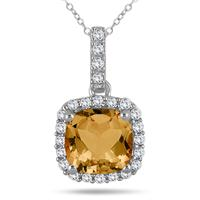 1.75 Carat Cushion Citrine and Diamond Halo Pendant in 10K White Gold
