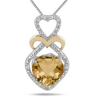 1.75 Carat Heart Shape Citrine and Diamond Pendant in 18K Yellow Gold Plated Sterling Silver