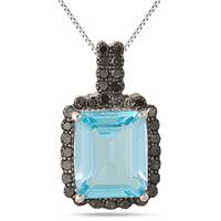 7.15 Carat Emerald Cut Blue Topaz and Black Diamond Pendant in .925 Sterling Silver