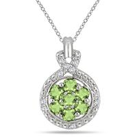 1 Carat Peridot and Diamond Cluster Pendant in .925 Sterling Silver