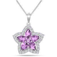 5.00 Carat Amethyst and White Topaz Star Flower Pendant in .925 Sterling Silver