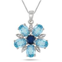 Blue Topaz, Sapphire and Diamond Flower Pendant in .925 Sterling Silver