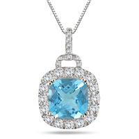 2.75 Cushion Cut Blue Topaz White Topaz and Diamond Pendant in .925 Sterling Silver