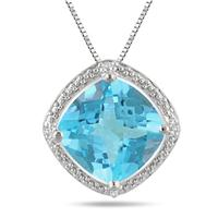 4.50 Carat Cushion Cut Blue Topaz and Diamond Pendant set in .925 Sterling Silver