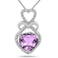 1.75 Carat Heart Shape Amethyst and Diamond Pendant in .925 Sterling Silver