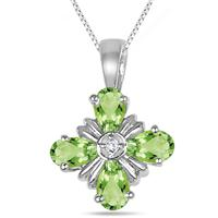 1.00 Carat T.W Peridot And Diamond Flower Pendant in .925 Sterling Silver