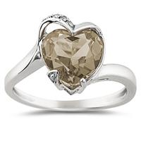 Heart Shaped Smokey Quartz and Diamond Ring in 14K White Gold
