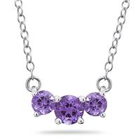 1.00 CTW Amethyst  Three Stone Pendant Necklace 14K White Gold