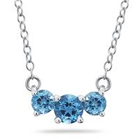 1.00 CTW Blue Topaz Three Stone Pendant Necklace 14K White Gold